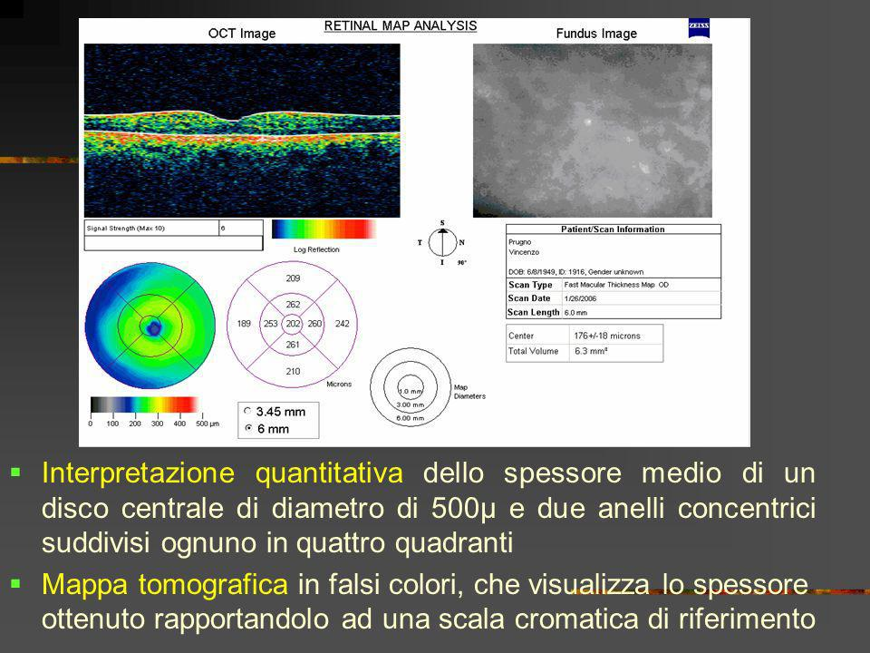 Interpretazione quantitativa dello spessore medio di un disco centrale di diametro di 500µ e due anelli concentrici suddivisi ognuno in quattro quadranti