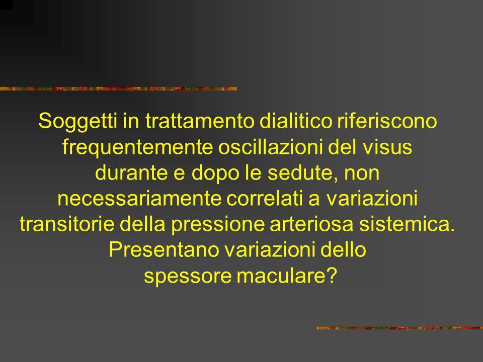 Soggetti in trattamento dialitico riferiscono frequentemente oscillazioni del visus durante e dopo le sedute, non necessariamente correlati a variazioni transitorie della pressione arteriosa sistemica.