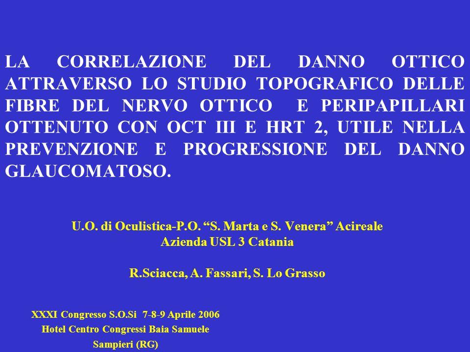 LA CORRELAZIONE DEL DANNO OTTICO ATTRAVERSO LO STUDIO TOPOGRAFICO DELLE FIBRE DEL NERVO OTTICO E PERIPAPILLARI OTTENUTO CON OCT III E HRT 2, UTILE NELLA PREVENZIONE E PROGRESSIONE DEL DANNO GLAUCOMATOSO.