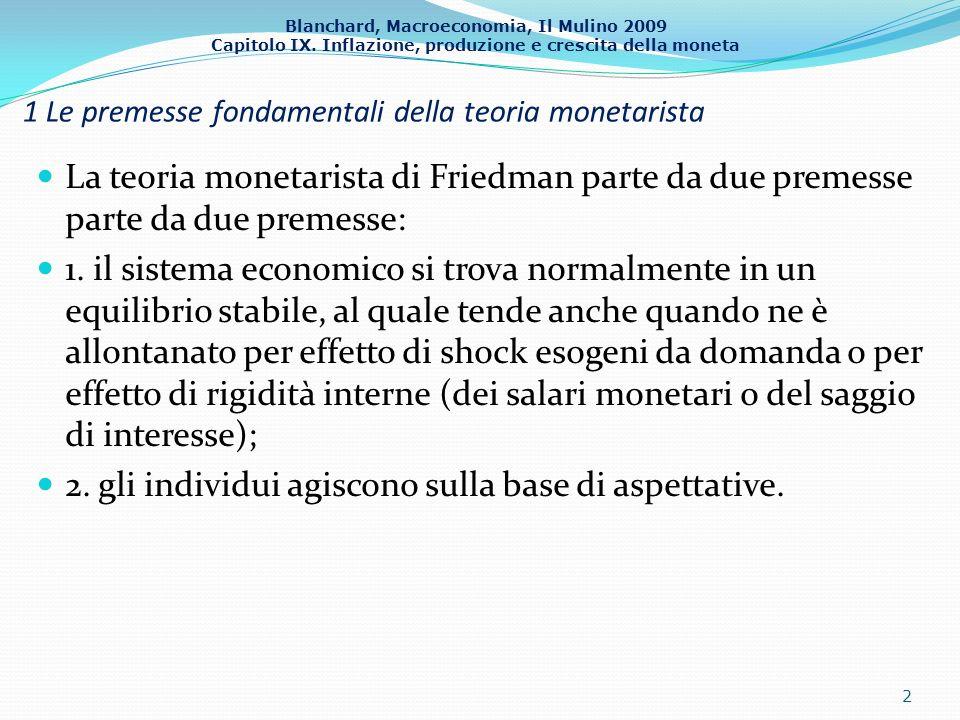 1 Le premesse fondamentali della teoria monetarista