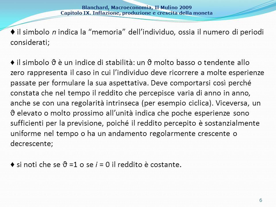 ♦ il simbolo n indica la memoria dell'individuo, ossia il numero di periodi considerati;