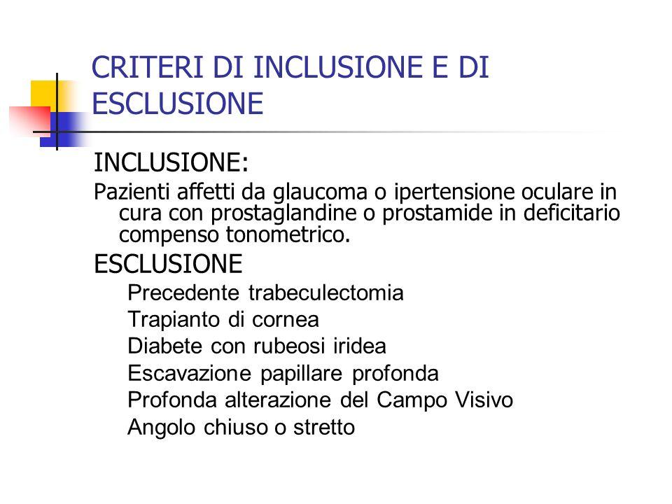 CRITERI DI INCLUSIONE E DI ESCLUSIONE