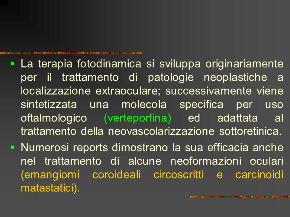 La terapia fotodinamica si sviluppa originariamente per il trattamento di patologie neoplastiche a localizzazione extraoculare; successivamente viene sintetizzata una molecola specifica per uso oftalmologico (verteporfina) ed adattata al trattamento della neovascolarizzazione sottoretinica.