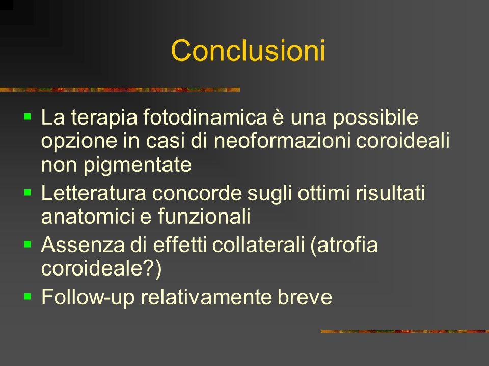 Conclusioni La terapia fotodinamica è una possibile opzione in casi di neoformazioni coroideali non pigmentate.