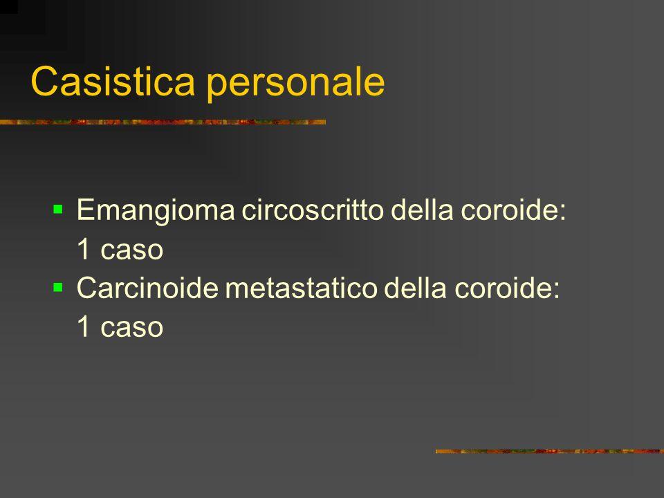 Casistica personale Emangioma circoscritto della coroide: 1 caso