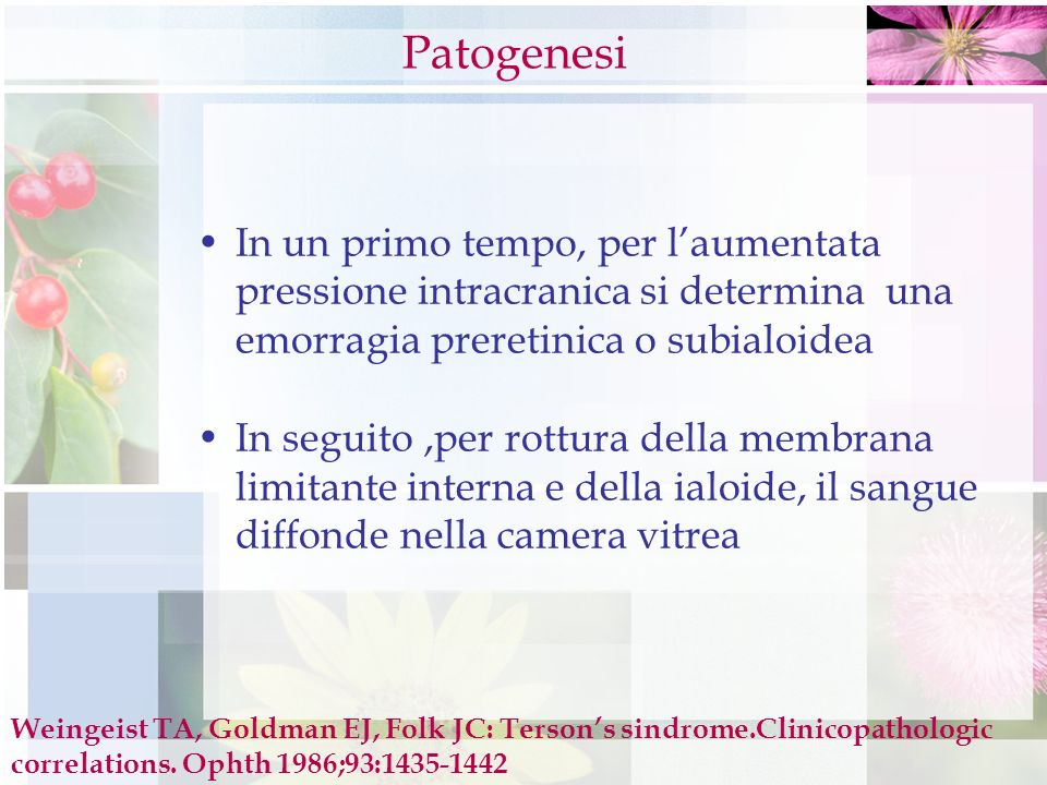 Patogenesi In un primo tempo, per l'aumentata pressione intracranica si determina una emorragia preretinica o subialoidea.