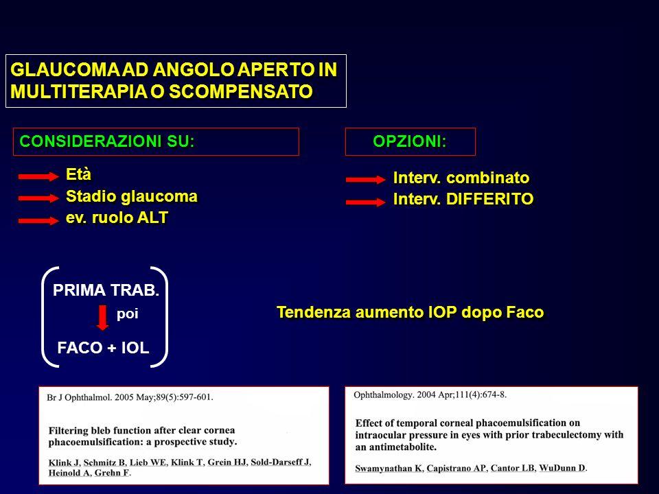 GLAUCOMA AD ANGOLO APERTO IN MULTITERAPIA O SCOMPENSATO
