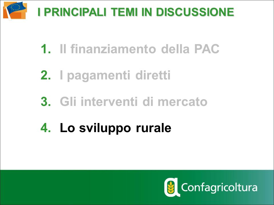 I PRINCIPALI TEMI IN DISCUSSIONE