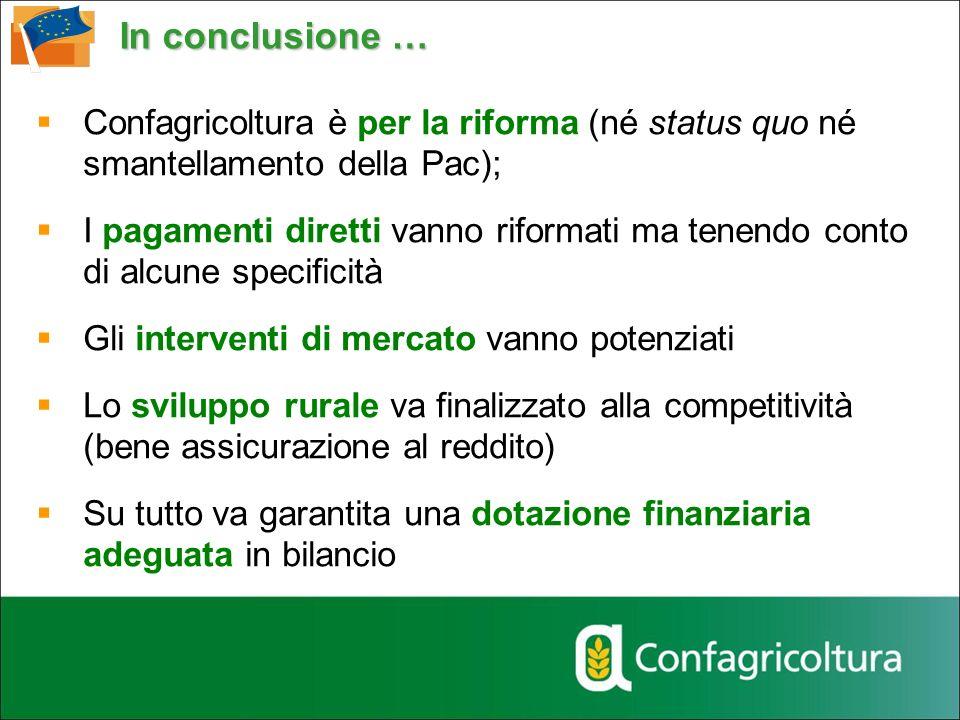 In conclusione … Confagricoltura è per la riforma (né status quo né smantellamento della Pac);