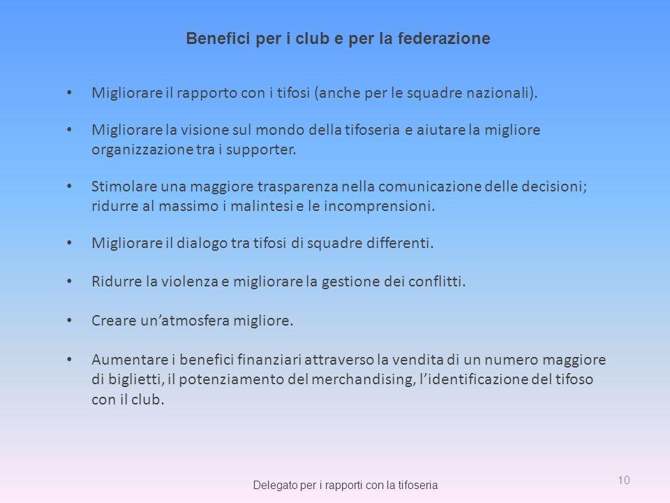 Benefici per i club e per la federazione