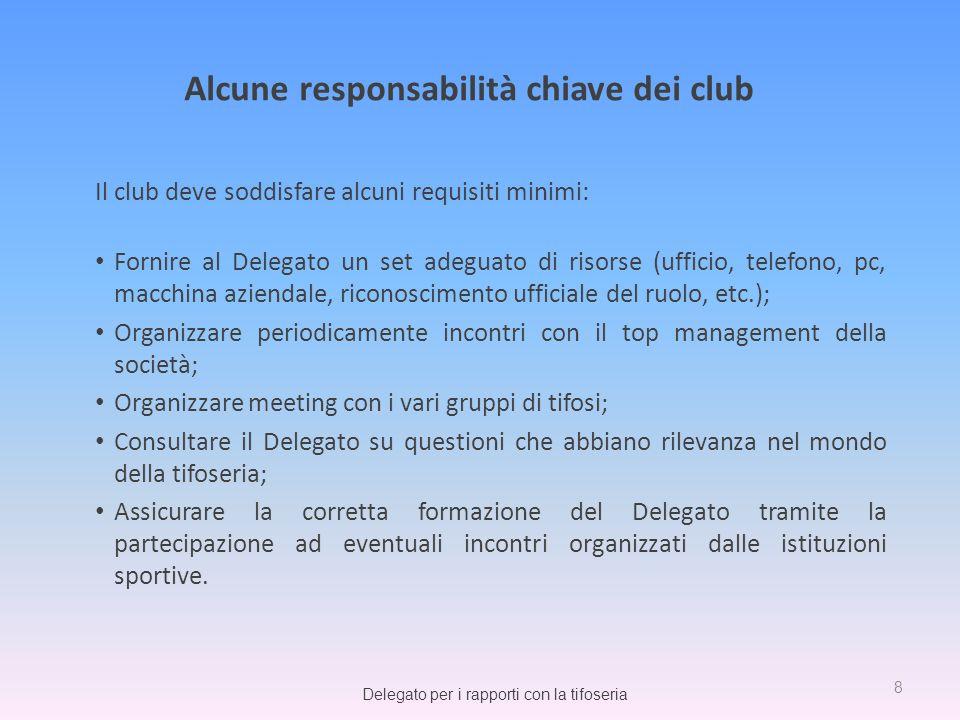 Alcune responsabilità chiave dei club