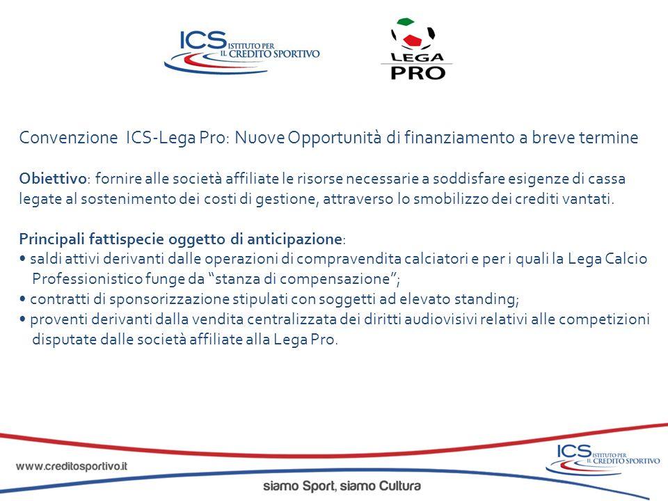 Convenzione ICS-Lega Pro: Nuove Opportunità di finanziamento a breve termine