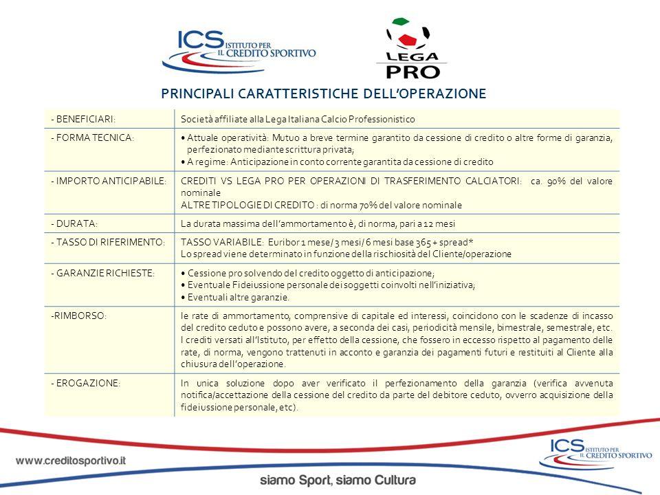 PRINCIPALI CARATTERISTICHE DELL'OPERAZIONE