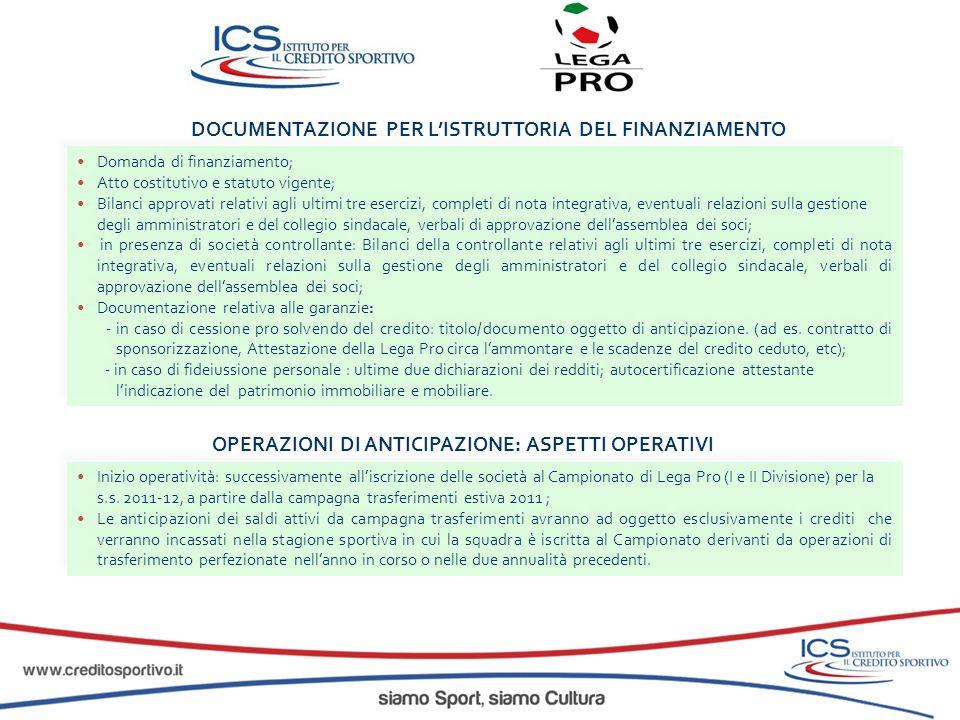 DOCUMENTAZIONE PER L'ISTRUTTORIA DEL FINANZIAMENTO