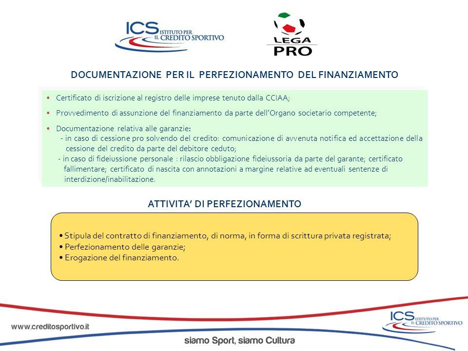 DOCUMENTAZIONE PER IL PERFEZIONAMENTO DEL FINANZIAMENTO