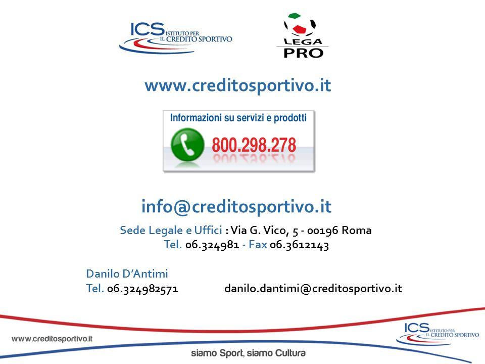Sede Legale e Uffici : Via G. Vico, 5 - 00196 Roma