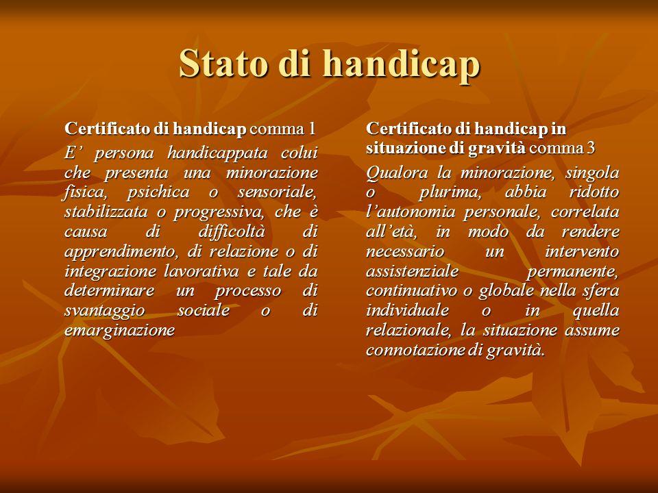 Stato di handicap Certificato di handicap comma 1