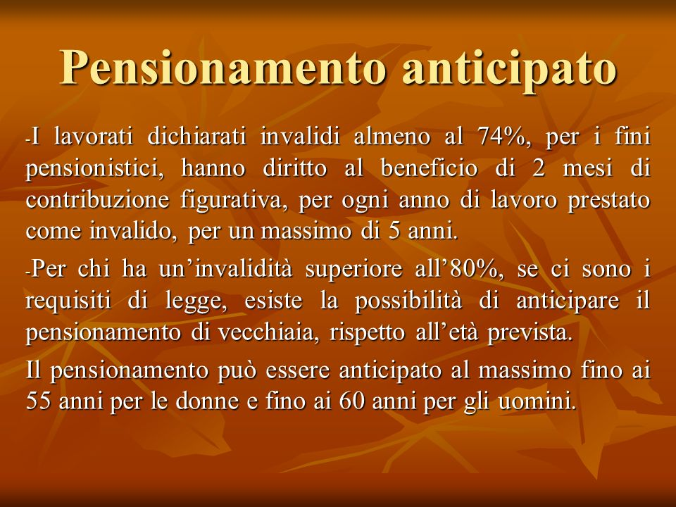 Pensionamento anticipato