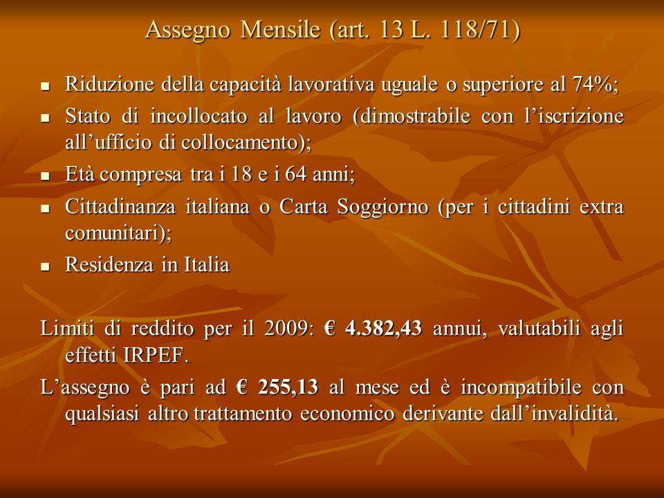Assegno Mensile (art. 13 L. 118/71)