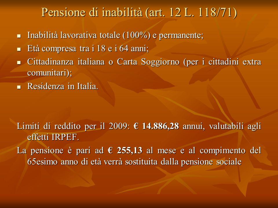 Pensione di inabilità (art. 12 L. 118/71)