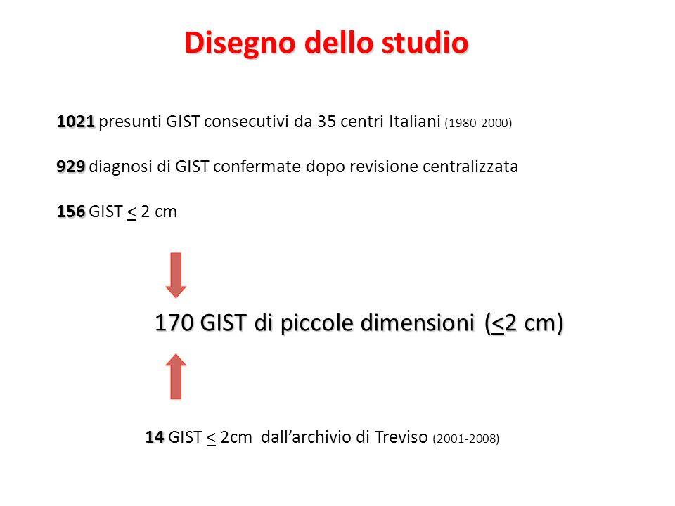 Disegno dello studio 170 GIST di piccole dimensioni (<2 cm)