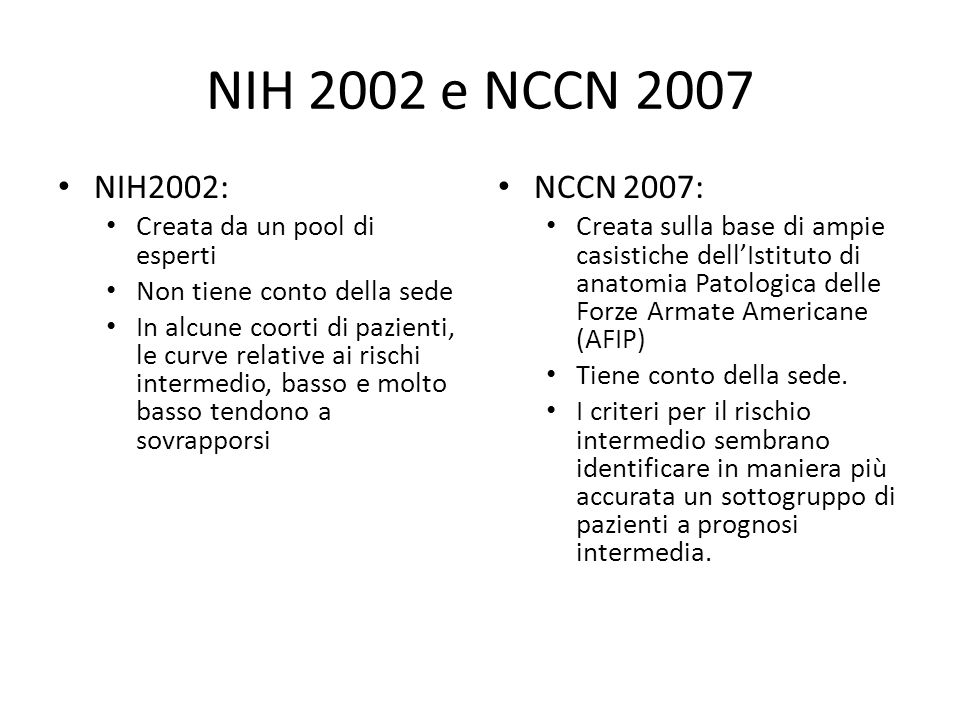 NIH 2002 e NCCN 2007 NIH2002: NCCN 2007: Creata da un pool di esperti