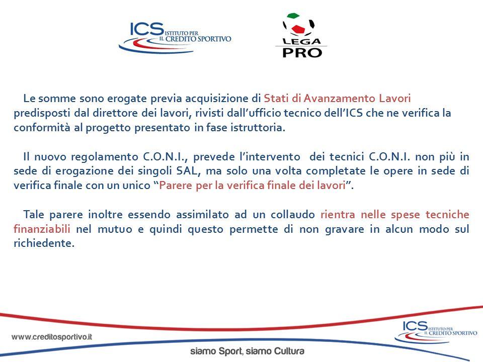 Le somme sono erogate previa acquisizione di Stati di Avanzamento Lavori predisposti dal direttore dei lavori, rivisti dall'ufficio tecnico dell'ICS che ne verifica la conformità al progetto presentato in fase istruttoria.