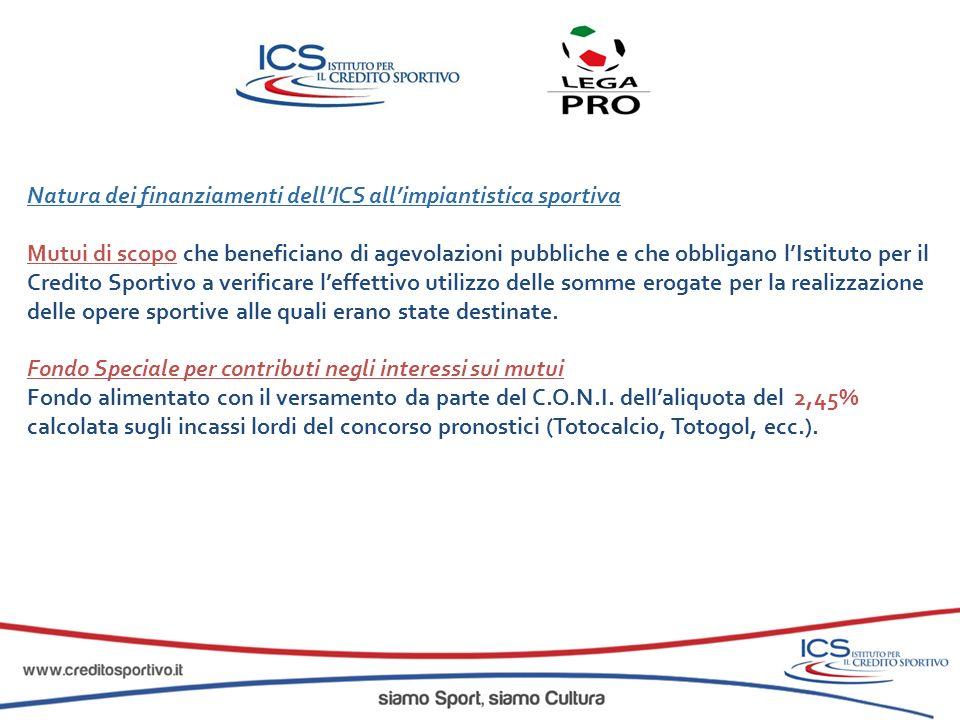 Natura dei finanziamenti dell'ICS all'impiantistica sportiva