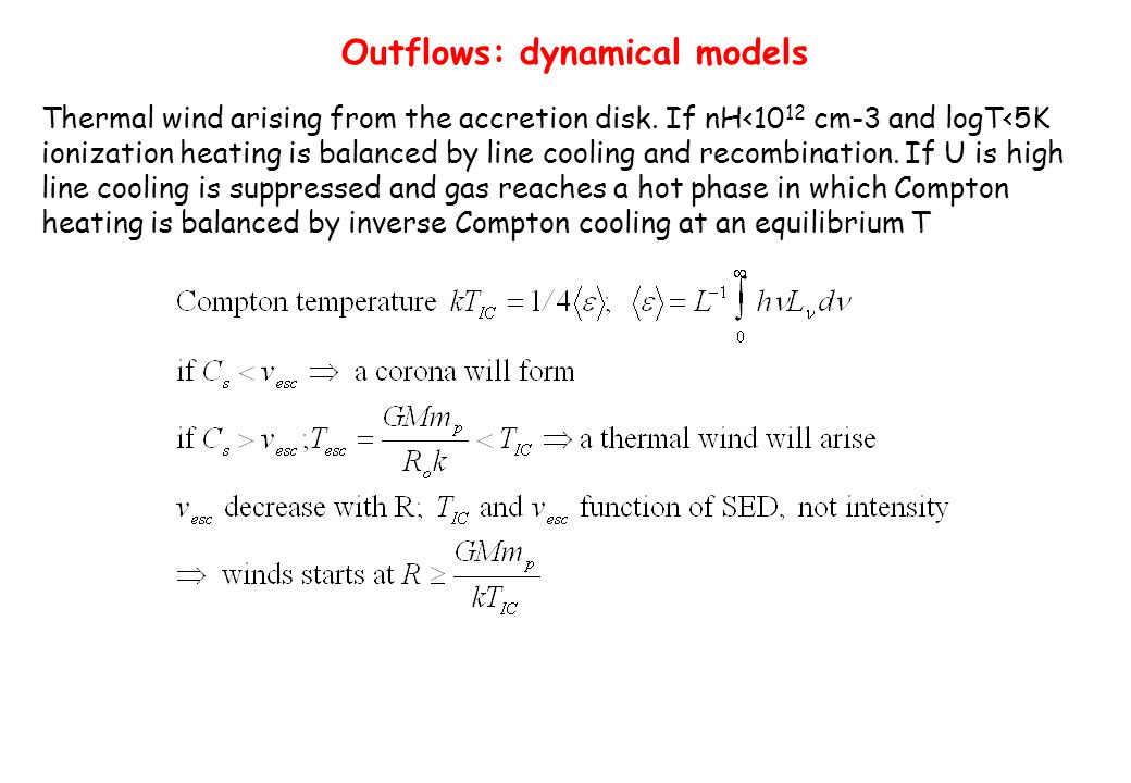 Outflows: dynamical models