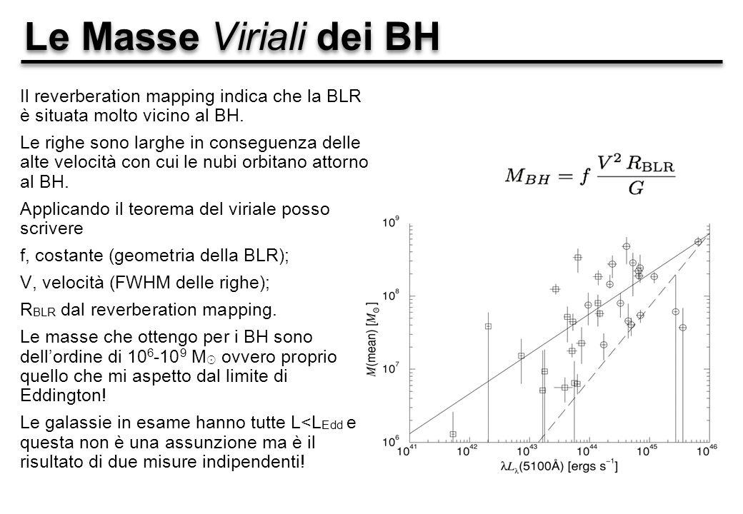 Le Masse Viriali dei BH Il reverberation mapping indica che la BLR è situata molto vicino al BH.