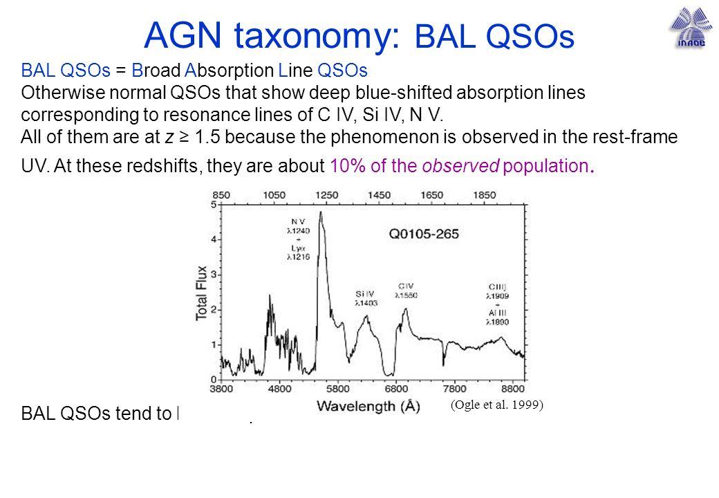 AGN taxonomy: BAL QSOs BAL QSOs = Broad Absorption Line QSOs