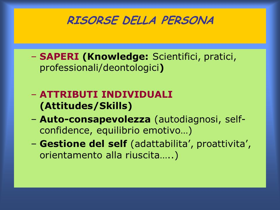RISORSE DELLA PERSONA SAPERI (Knowledge: Scientifici, pratici, professionali/deontologici) ATTRIBUTI INDIVIDUALI (Attitudes/Skills)
