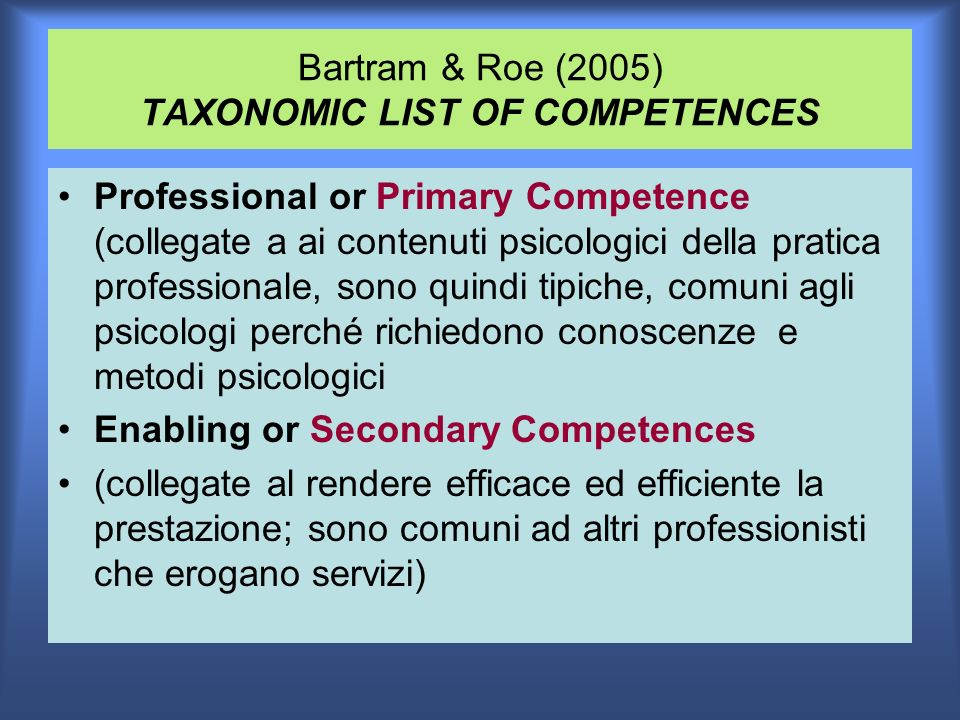 Bartram & Roe (2005) TAXONOMIC LIST OF COMPETENCES