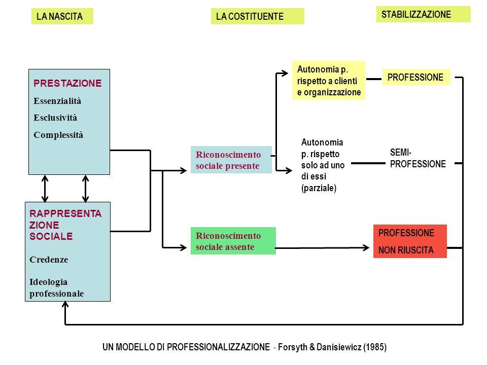UN MODELLO DI PROFESSIONALIZZAZIONE - Forsyth & Danisiewicz (1985)