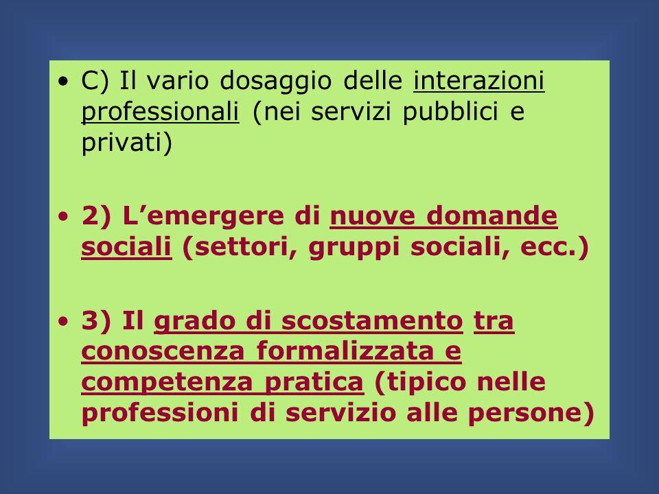 C) Il vario dosaggio delle interazioni professionali (nei servizi pubblici e privati)