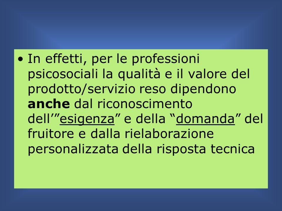 In effetti, per le professioni psicosociali la qualità e il valore del prodotto/servizio reso dipendono anche dal riconoscimento dell' esigenza e della domanda del fruitore e dalla rielaborazione personalizzata della risposta tecnica