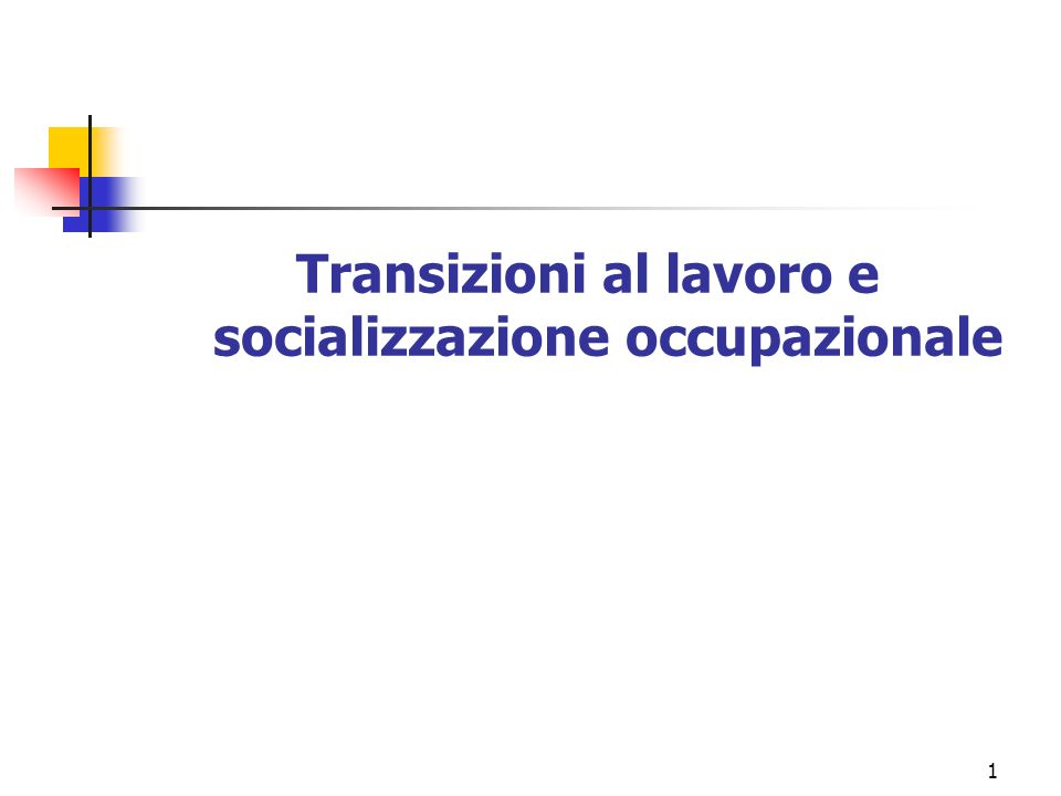 Transizioni al lavoro e socializzazione occupazionale