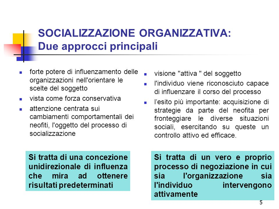 SOCIALIZZAZIONE ORGANIZZATIVA: Due approcci principali