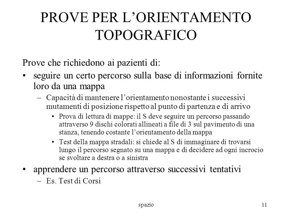 PROVE PER L'ORIENTAMENTO TOPOGRAFICO