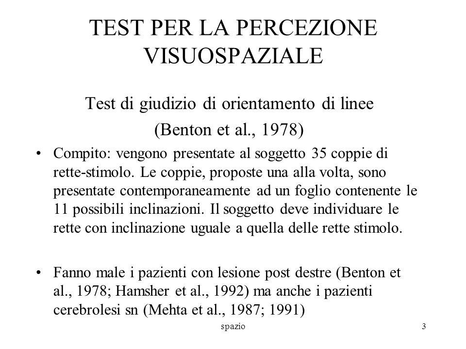 TEST PER LA PERCEZIONE VISUOSPAZIALE