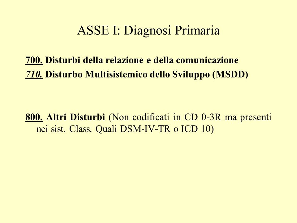 ASSE I: Diagnosi Primaria