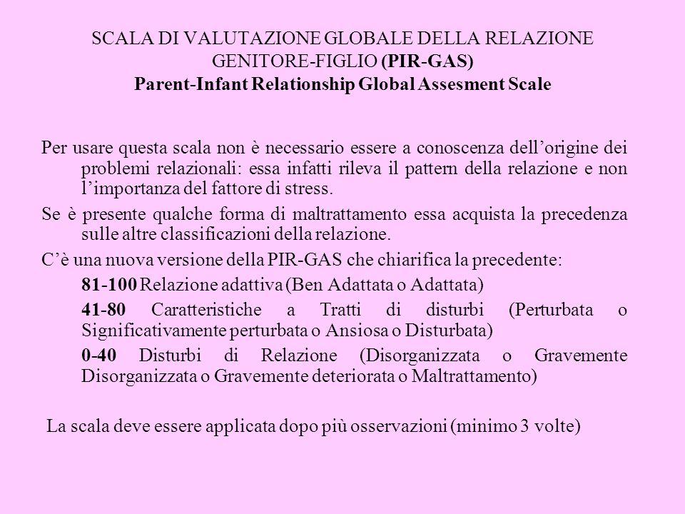 SCALA DI VALUTAZIONE GLOBALE DELLA RELAZIONE GENITORE-FIGLIO (PIR-GAS) Parent-Infant Relationship Global Assesment Scale
