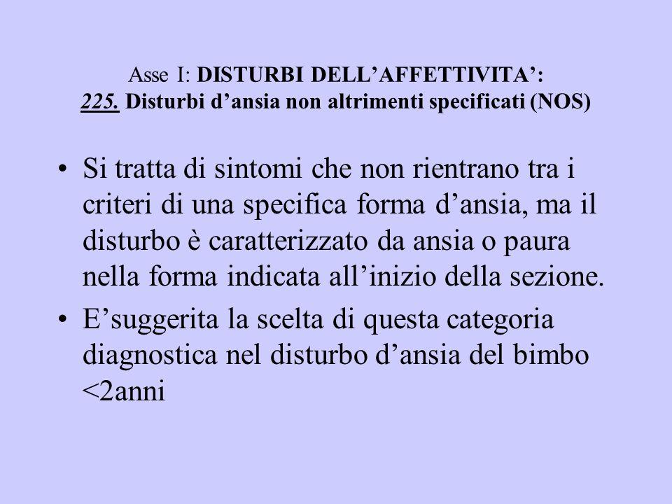 Asse I: DISTURBI DELL'AFFETTIVITA': 225