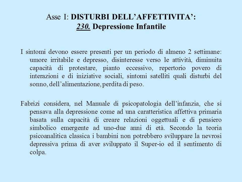 Asse I: DISTURBI DELL'AFFETTIVITA': 230. Depressione Infantile