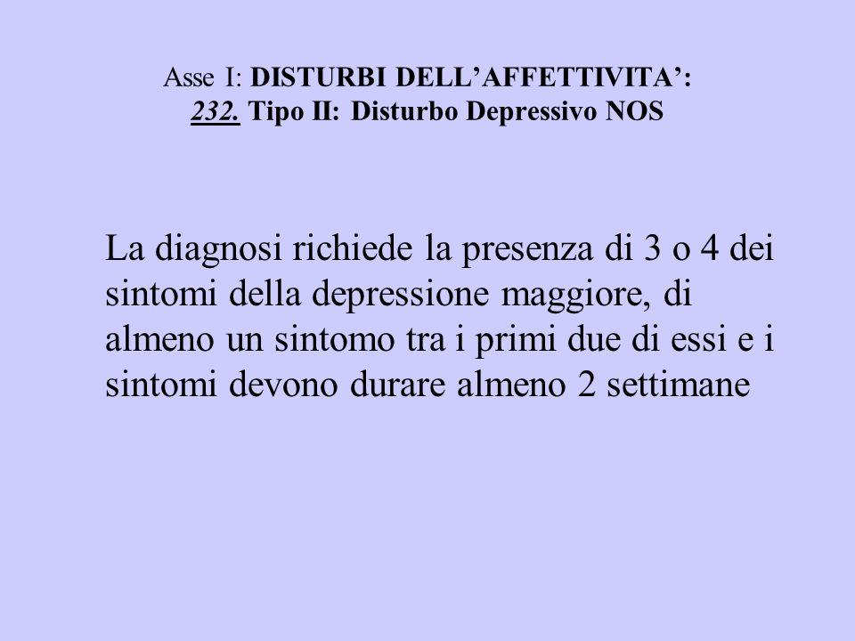 Asse I: DISTURBI DELL'AFFETTIVITA': 232