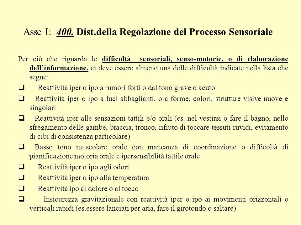 Asse I: 400. Dist.della Regolazione del Processo Sensoriale