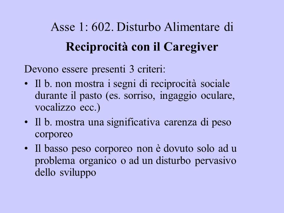 Asse 1: 602. Disturbo Alimentare di Reciprocità con il Caregiver