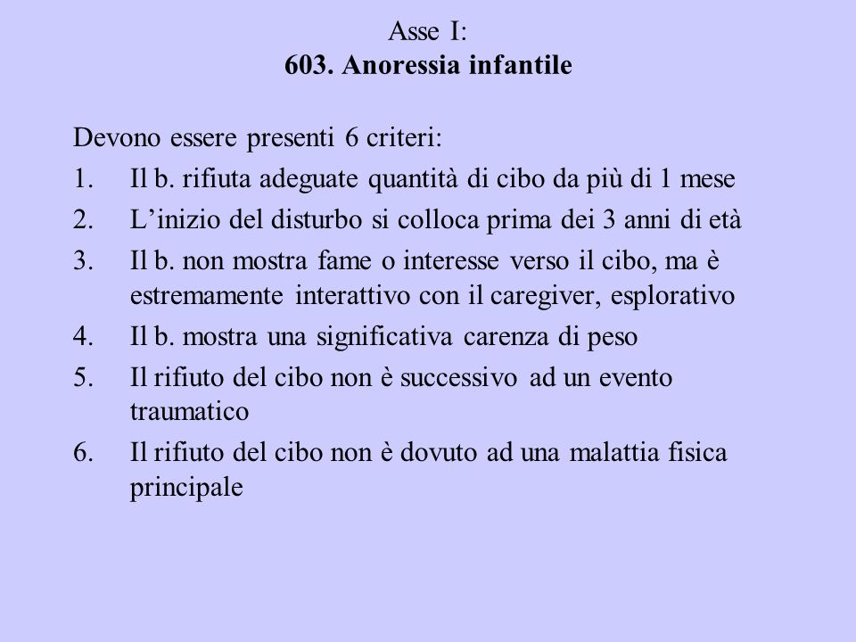 Asse I: 603. Anoressia infantile