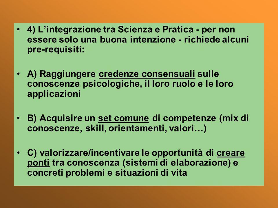 4) L'integrazione tra Scienza e Pratica - per non essere solo una buona intenzione - richiede alcuni pre-requisiti: