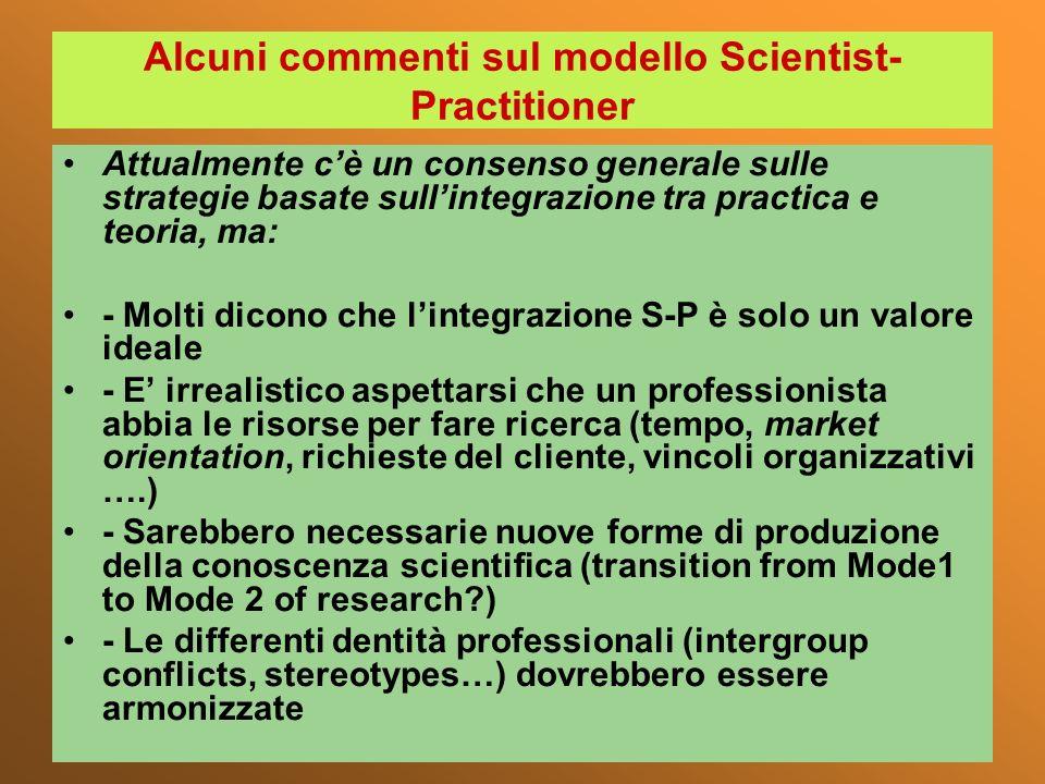 Alcuni commenti sul modello Scientist-Practitioner